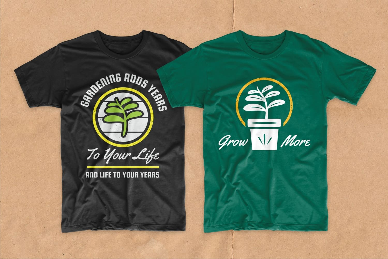 Black and green T-shirts featuring a houseplant.