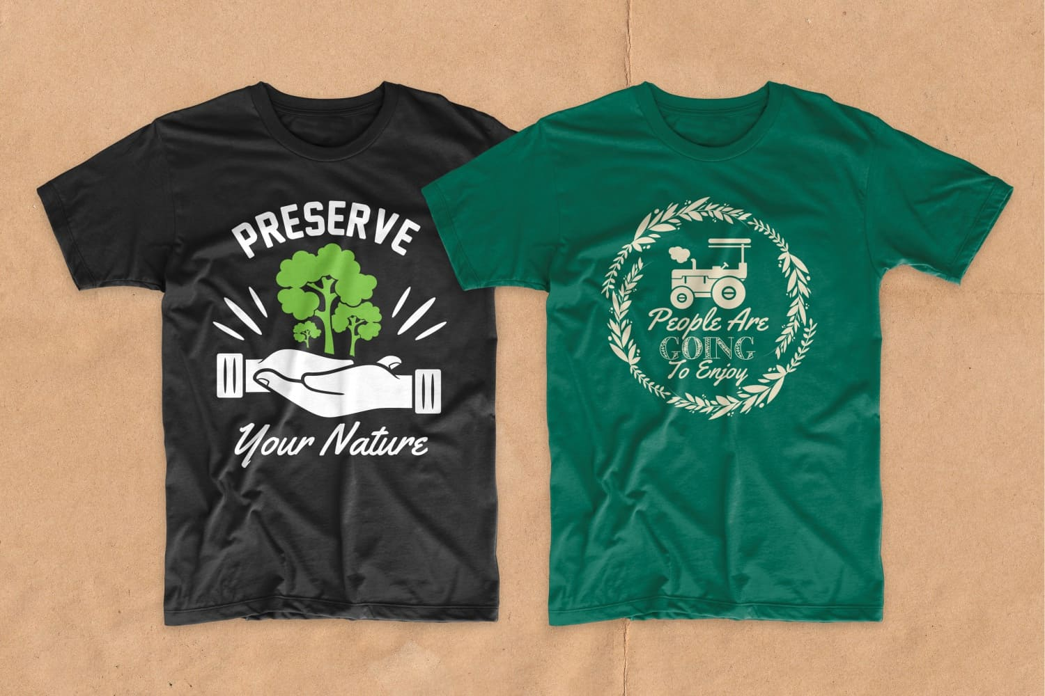 Black and green T-shirts with a tractor and a tree.