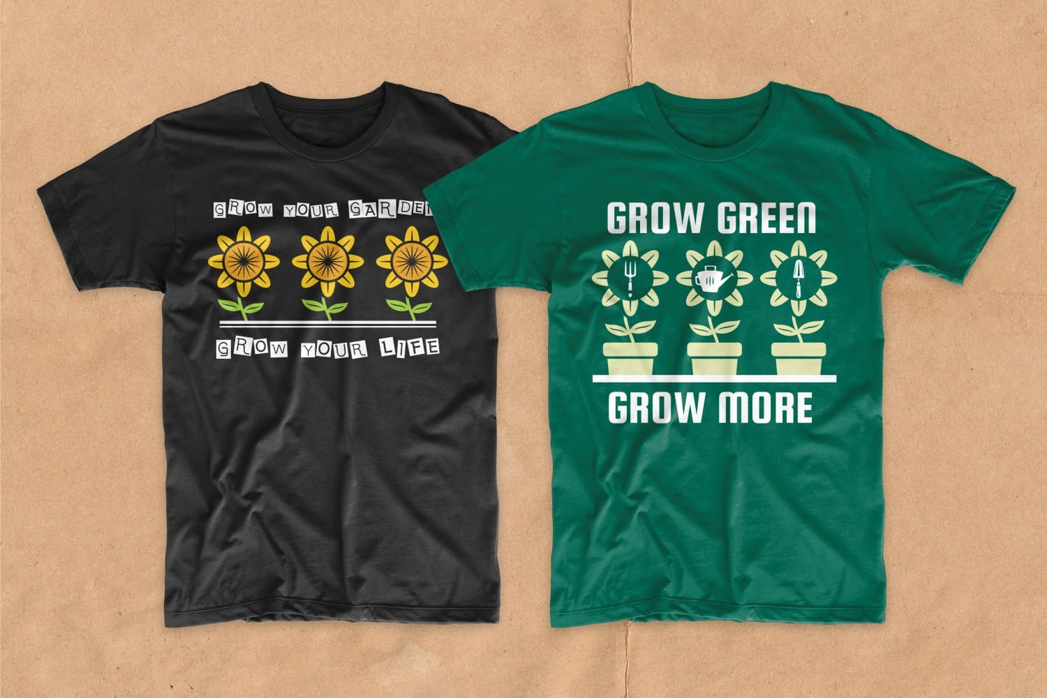 Black and green T-shirts featuring homemade sunflowers.