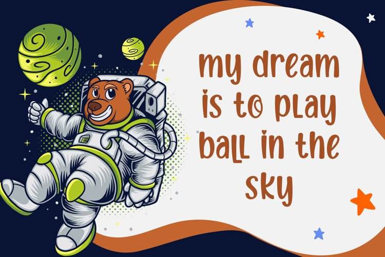 Teddy bear astronaut in space. Bright and modern graphics.