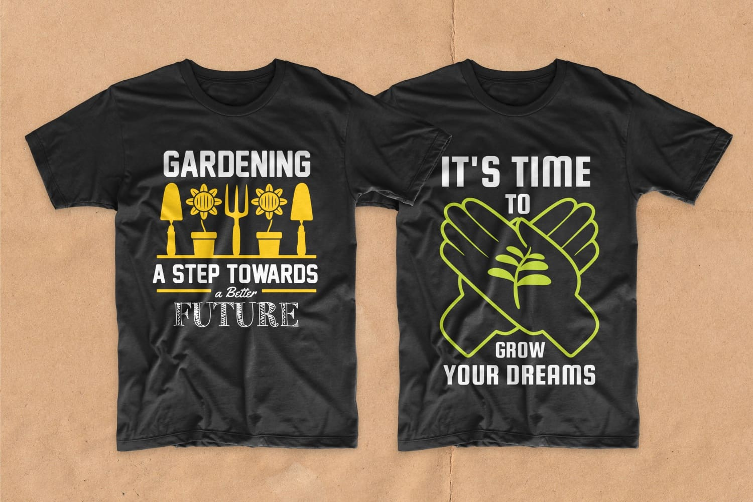 Two black T-shirts with plants.