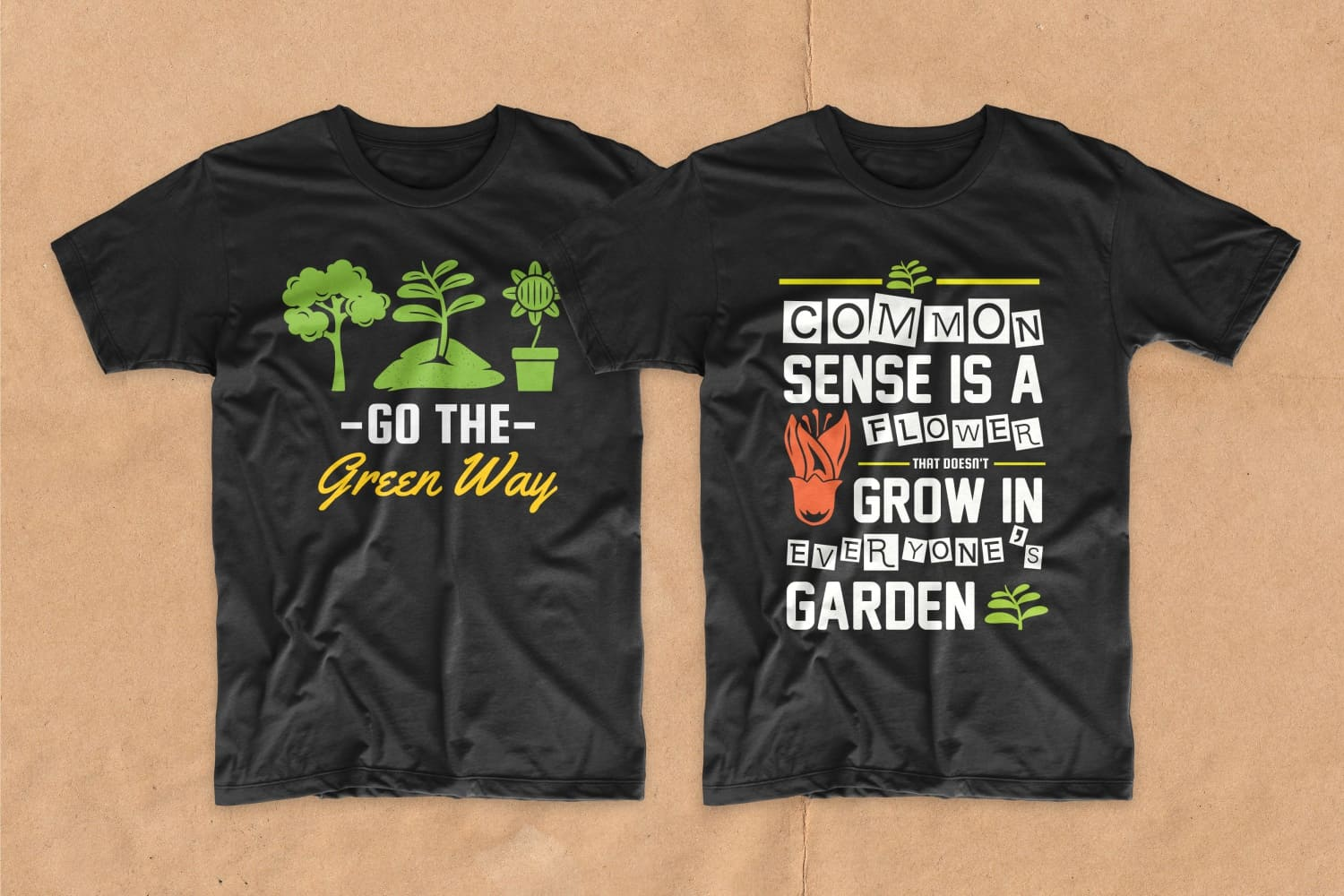 Two black T-shirts with flowers and leaves.