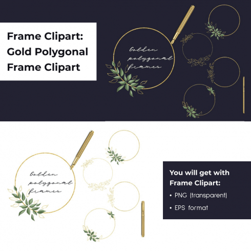 Frame Clipart_ Gold Polygonal Frame Clipart