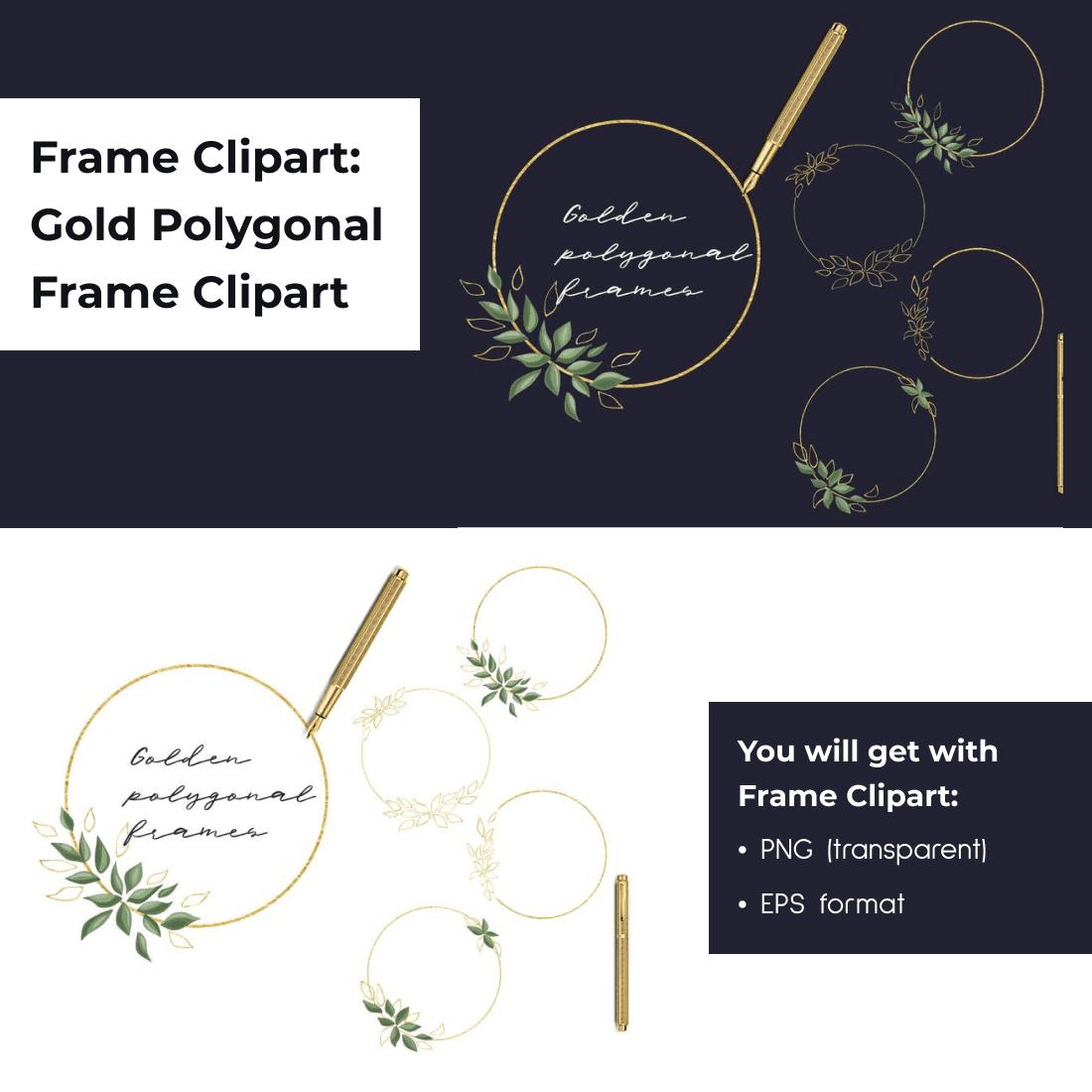 Frame Clipart_ Gold Polygonal Frame Clipart