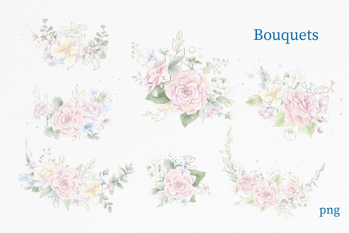 Pink Roses Clipart: Watercolor flowers PNG - 3