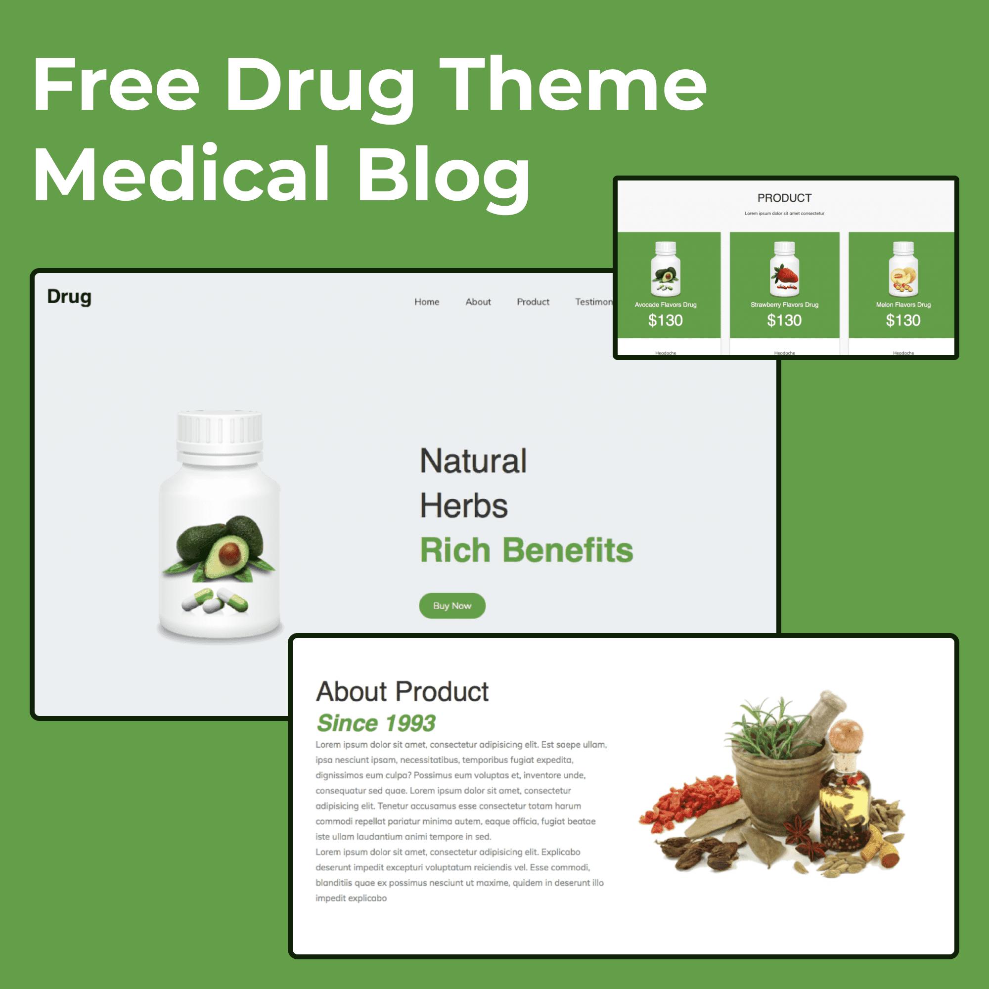 Free Drug Theme Medical Blog main image