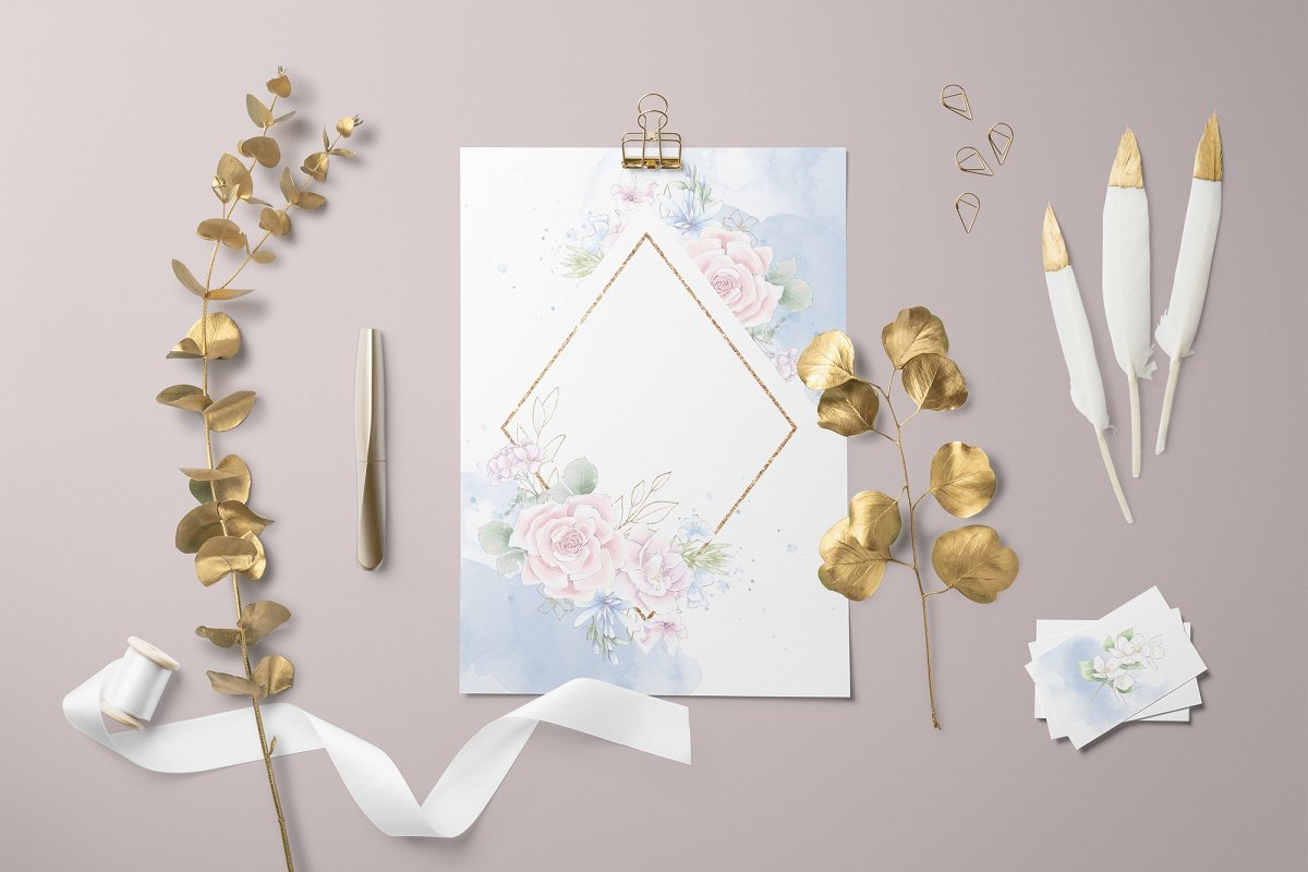 Pink Roses Clipart: Watercolor flowers PNG - 4