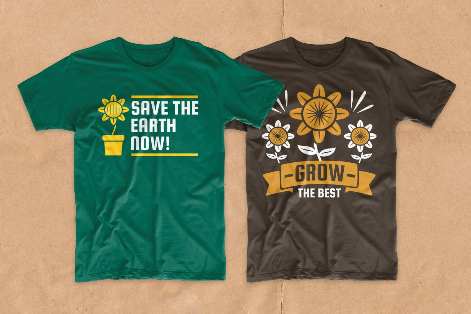 Green and brown T-shirts with a picture of a home flower and an inscription.