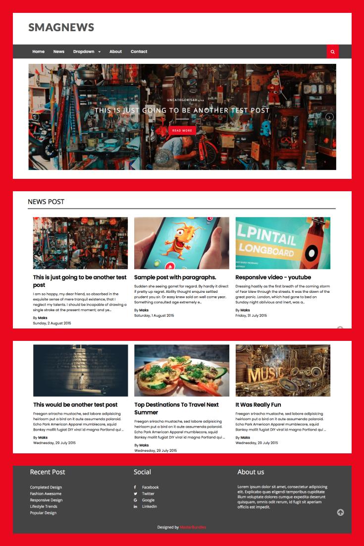 Pinterest Image: Free News Blogger Template SmagNews BlogSpot