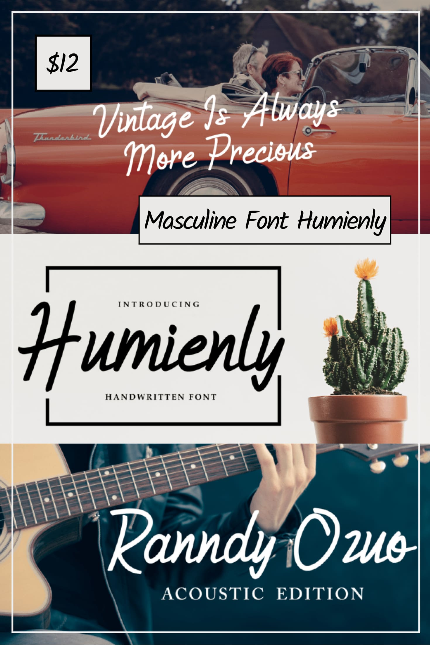 Pinterest Image: Masculine Font Humienly.