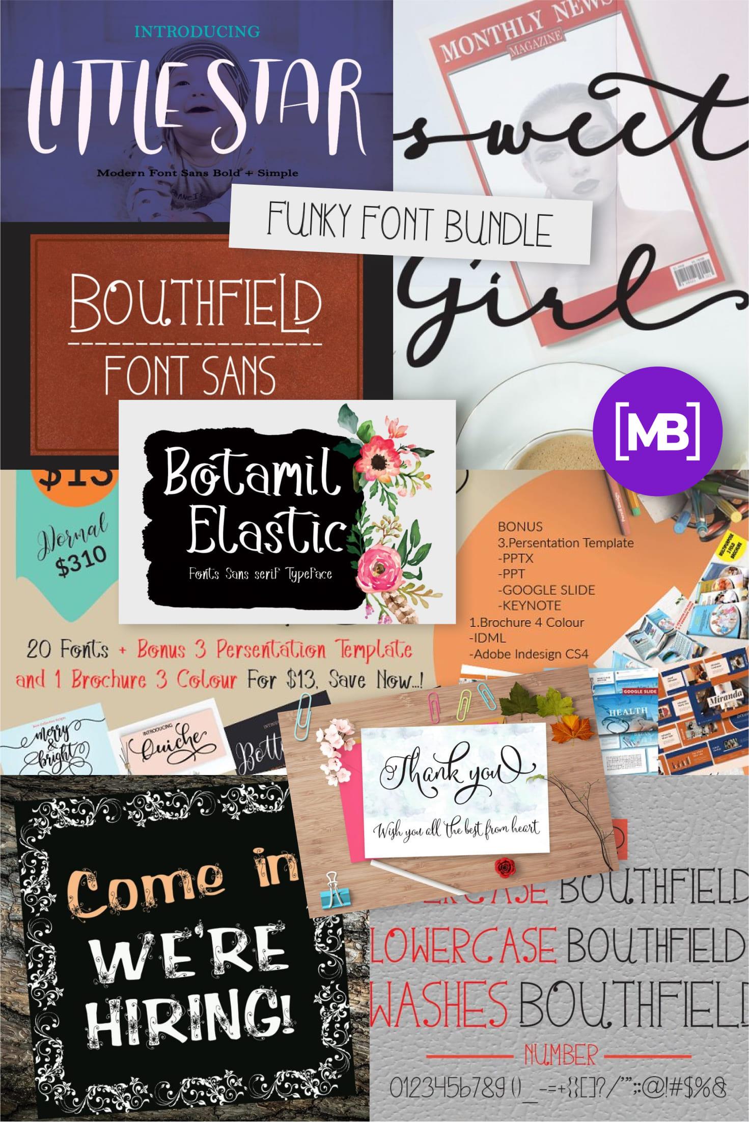 Pinterest Image: Funky Font Bundle: 18 Amazing Modern Calligraphy Fonts.