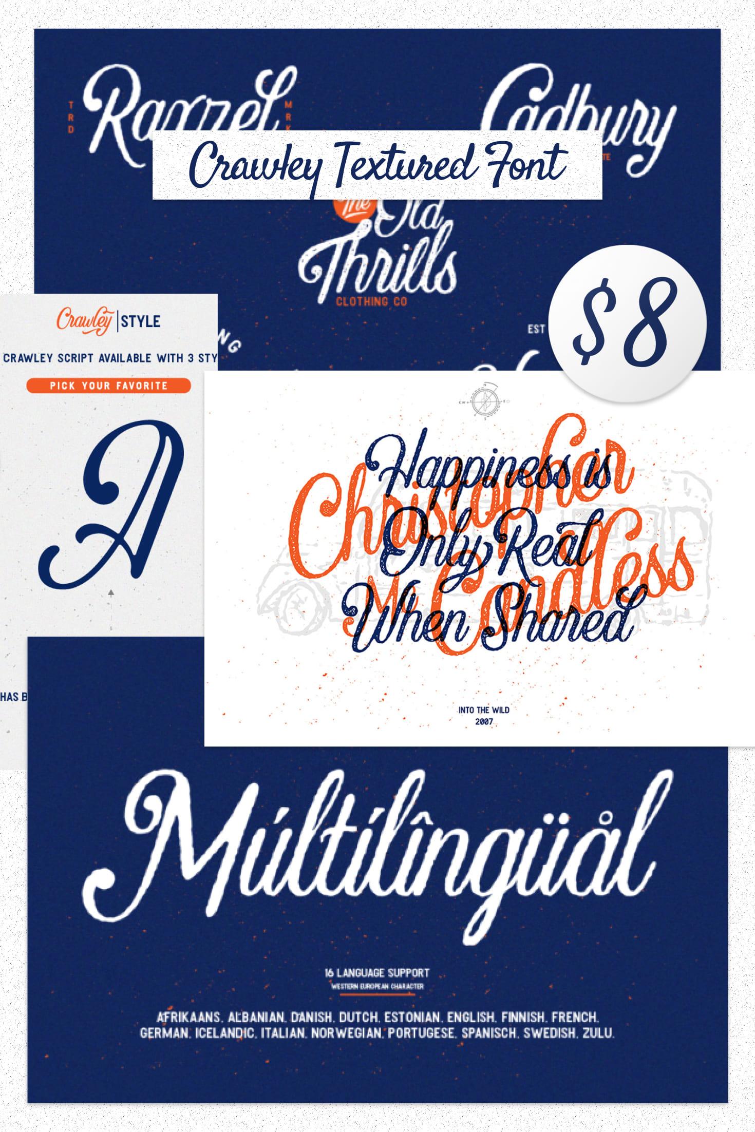 Pinterest Image: Crawley Textured Font Duo + Illustration.