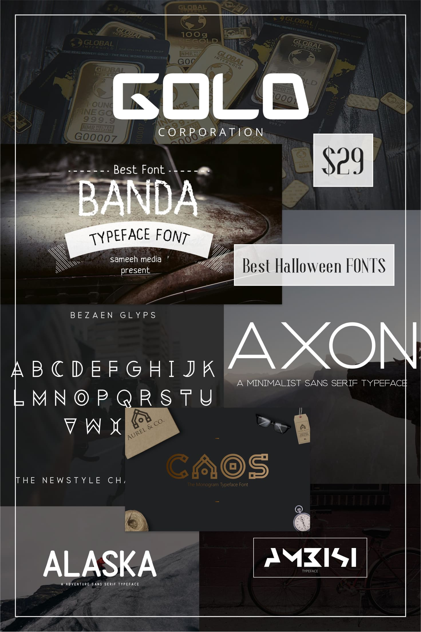 Pinterest Image: Best Halloween FONTS Bundle - $29. 2020 SALE! Halloween Embroidery Fonts.