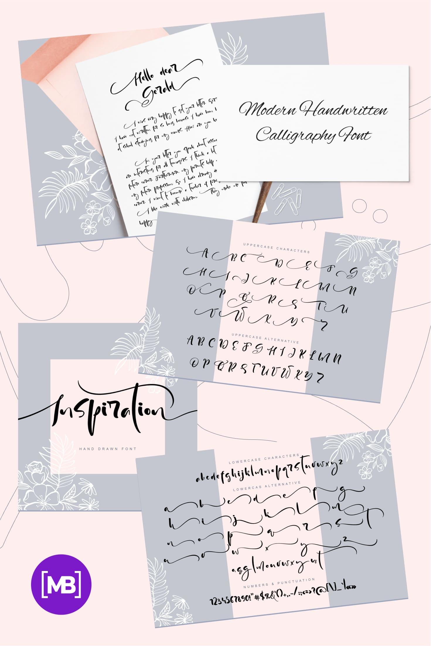 Pinterest Image: Modern Handwritten Calligraphy Font.