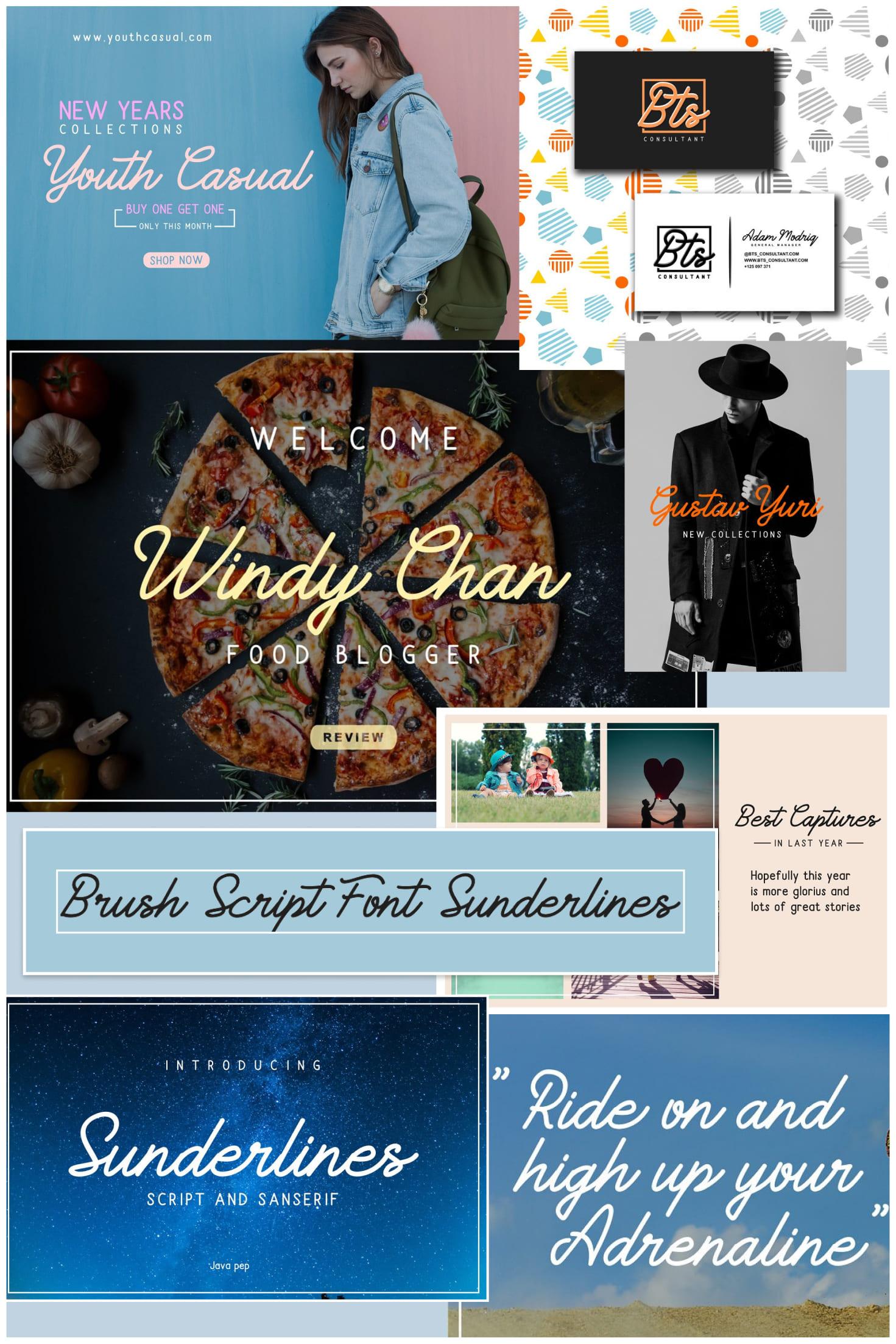Pinterest Image: Brush Script Font Sunderlines and Sanserif.