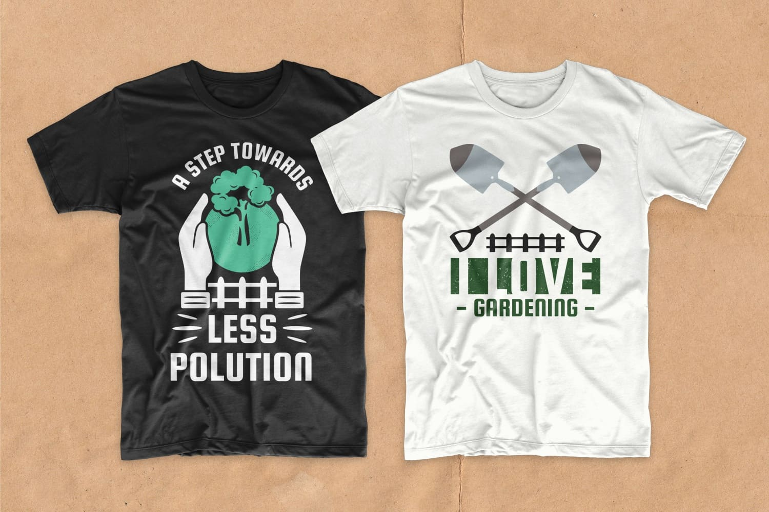 White and black T-shirts about the importance of saving the planet and greening it.