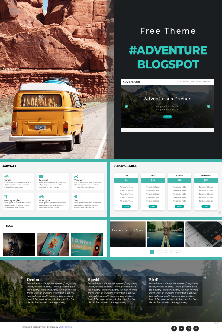 Pinterest Image: Simple Blogger Template: Free Travel BlogSpotTheme Adventure