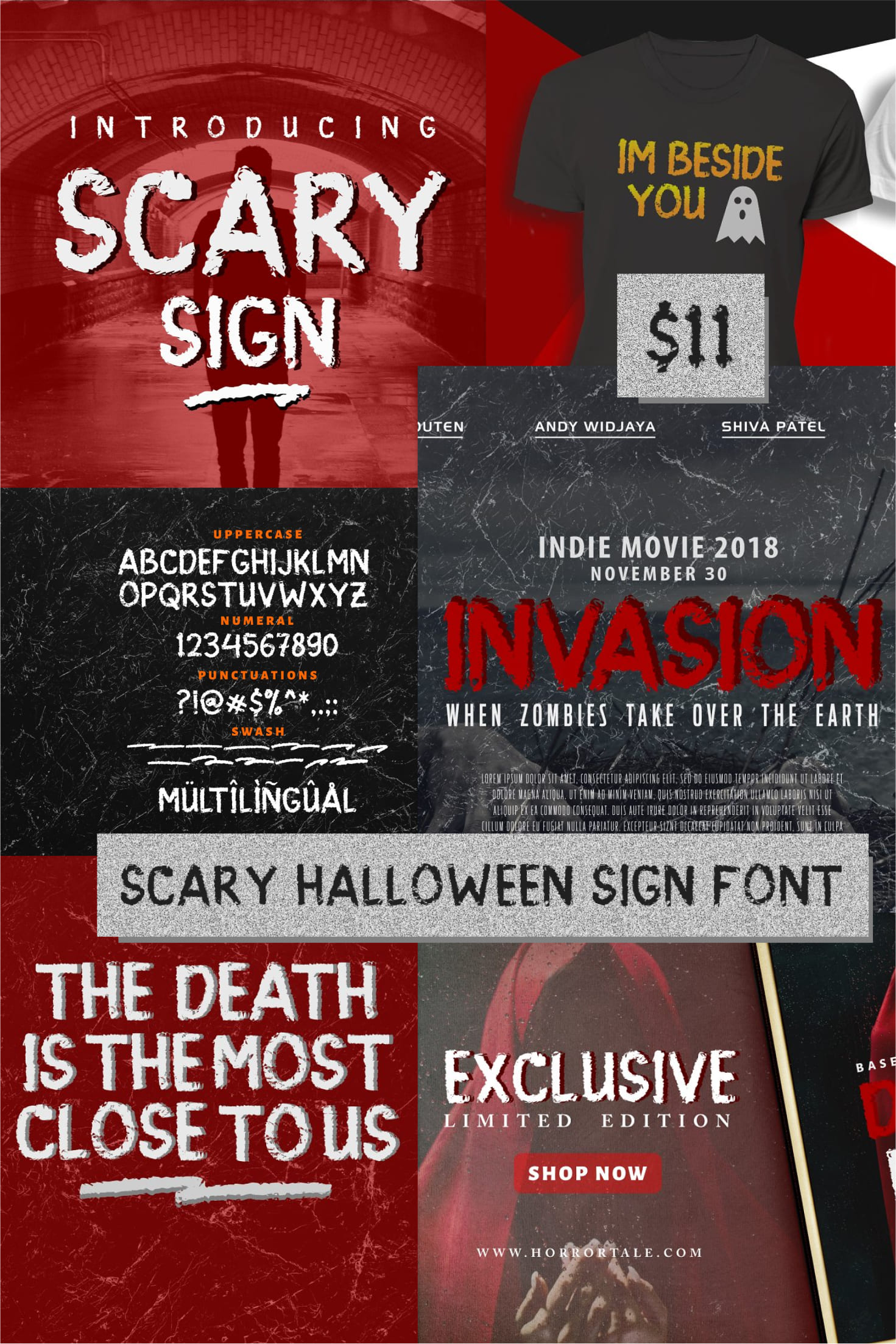 Pinterest Image: Scary Halloween Sign Font 2020.