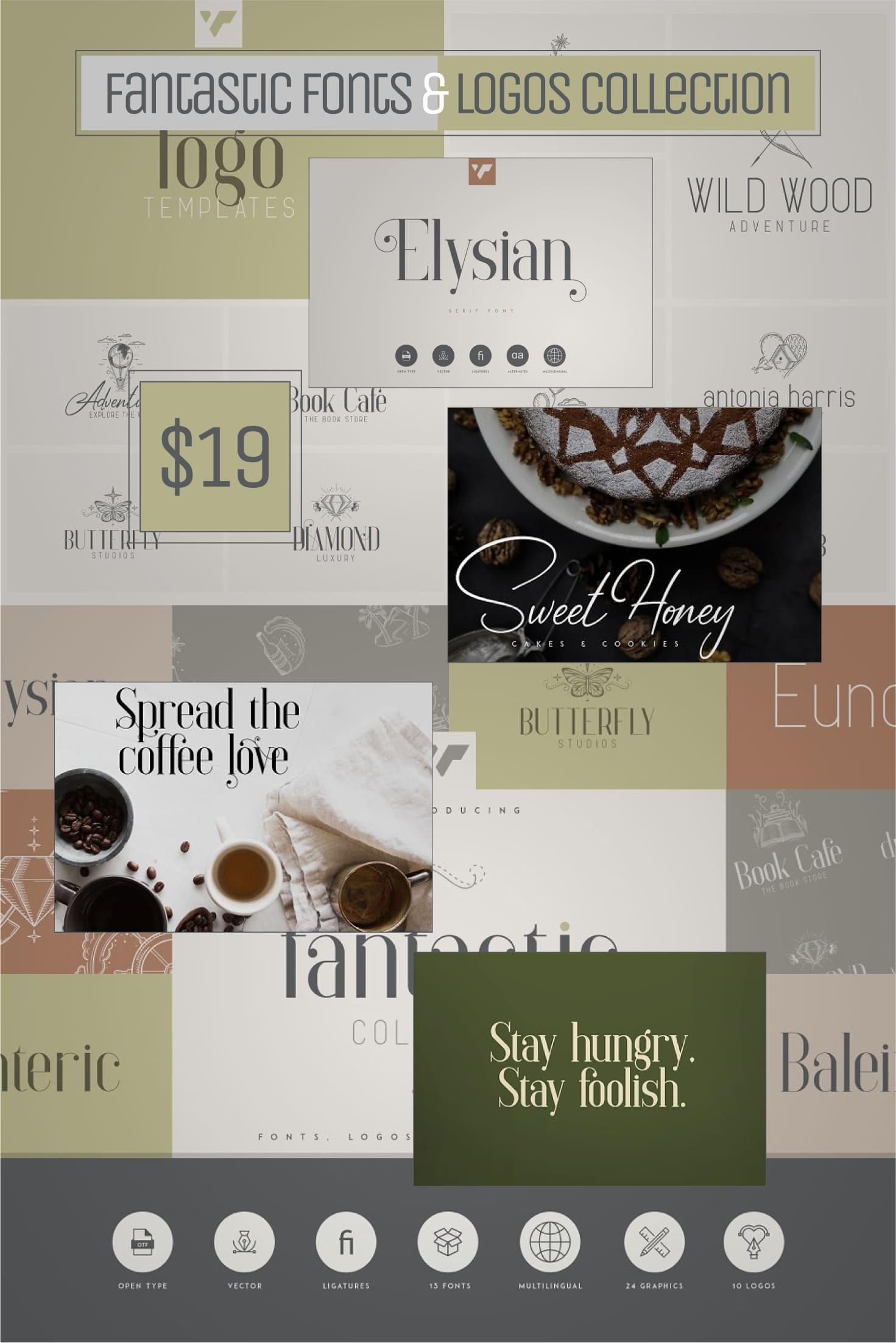 Pinterest Image: Fantastic Fonts & Logos Collection.