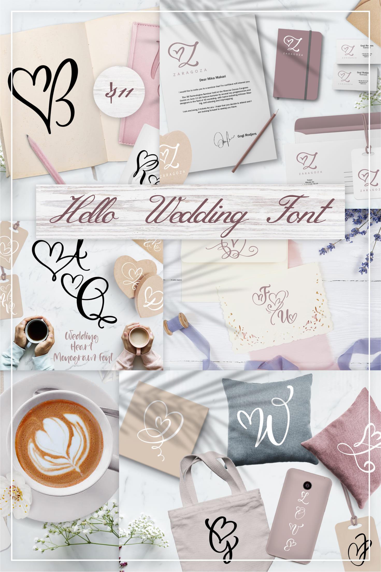 Pinterest Image: Hello Wedding Font: Wedding Heart Monogram Font.