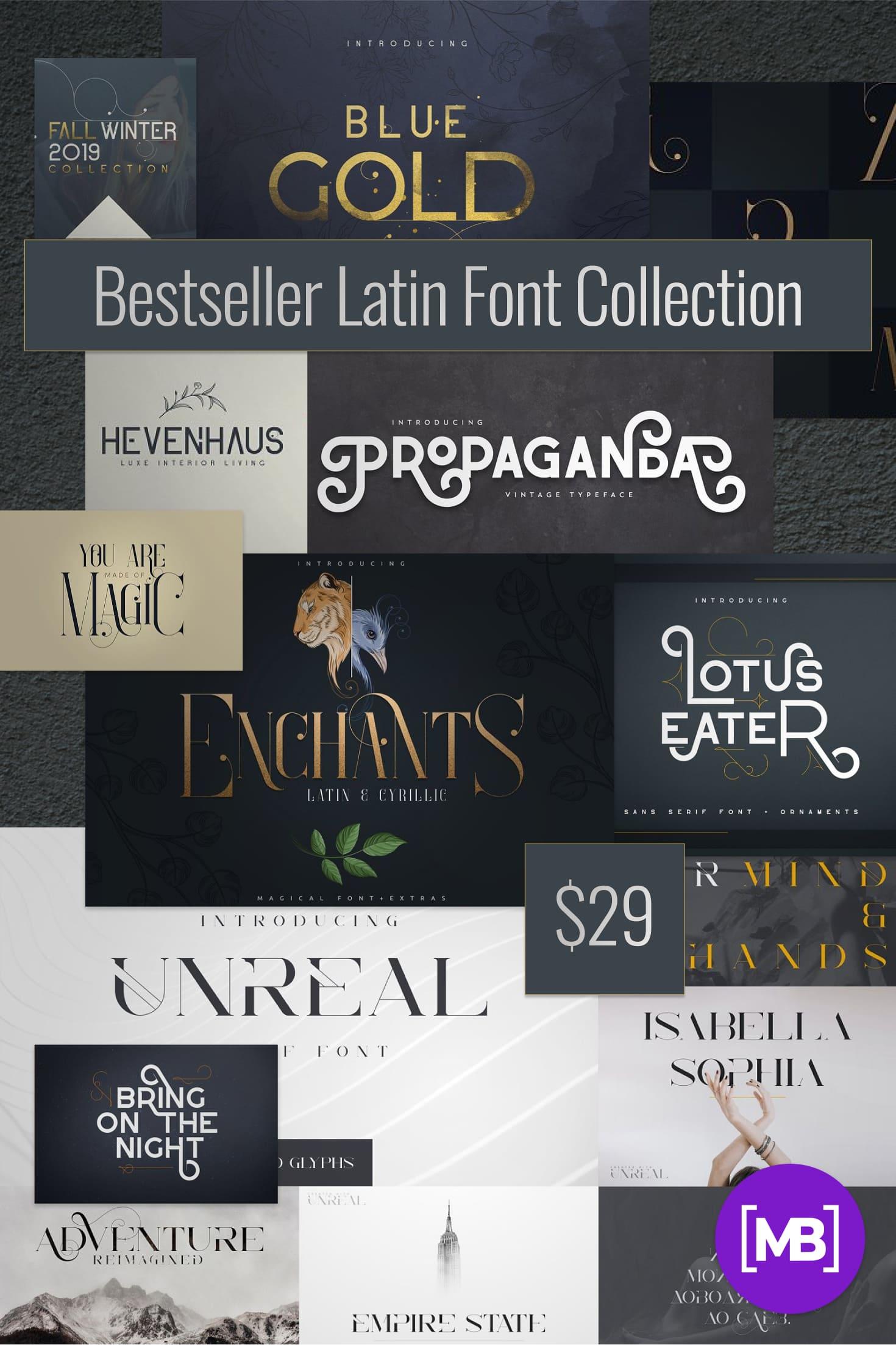 Pinterest Image: Bestseller Latin Font Collection Vol.02