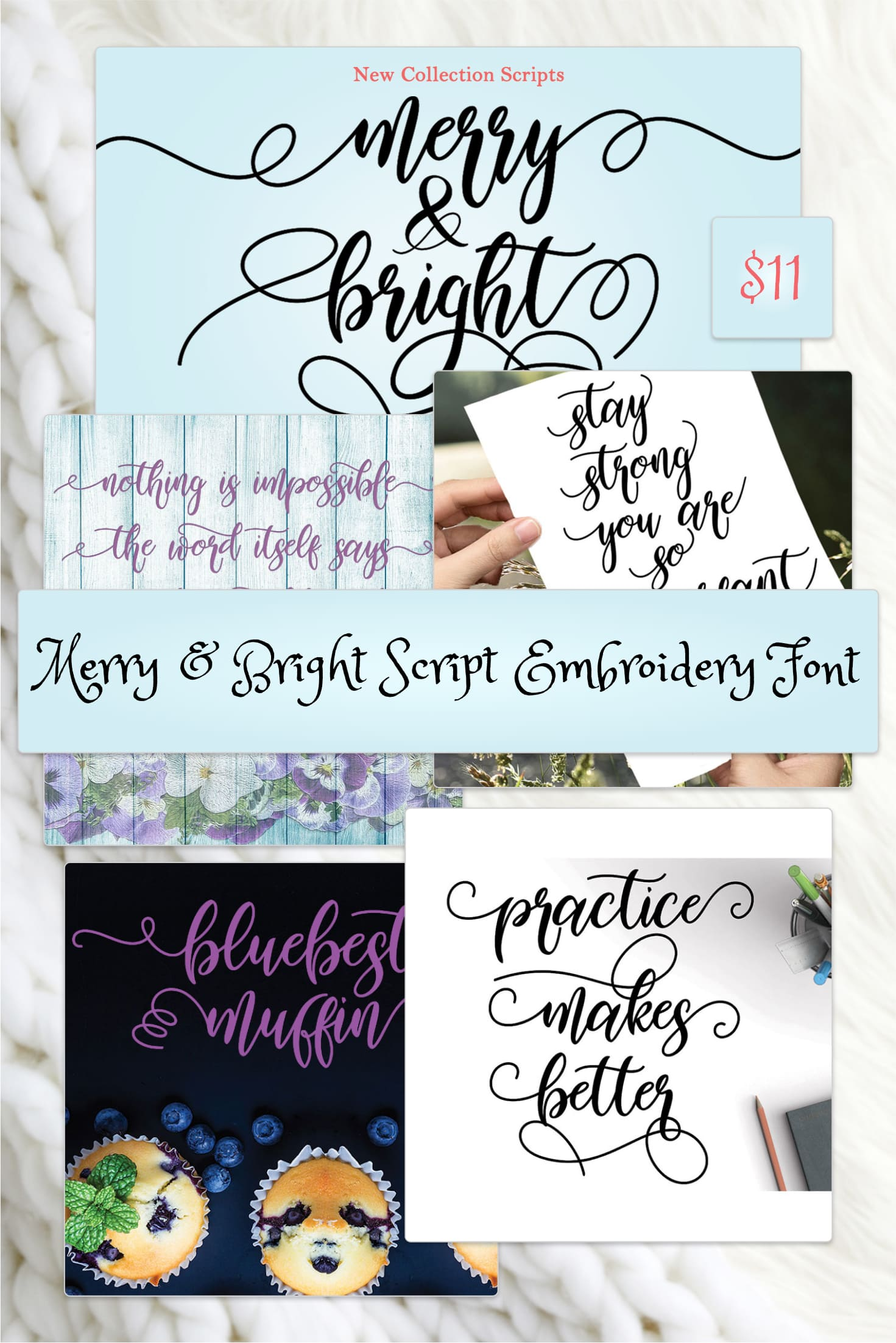 Pinterest Image: Merry & Bright Script Embroidery Font.