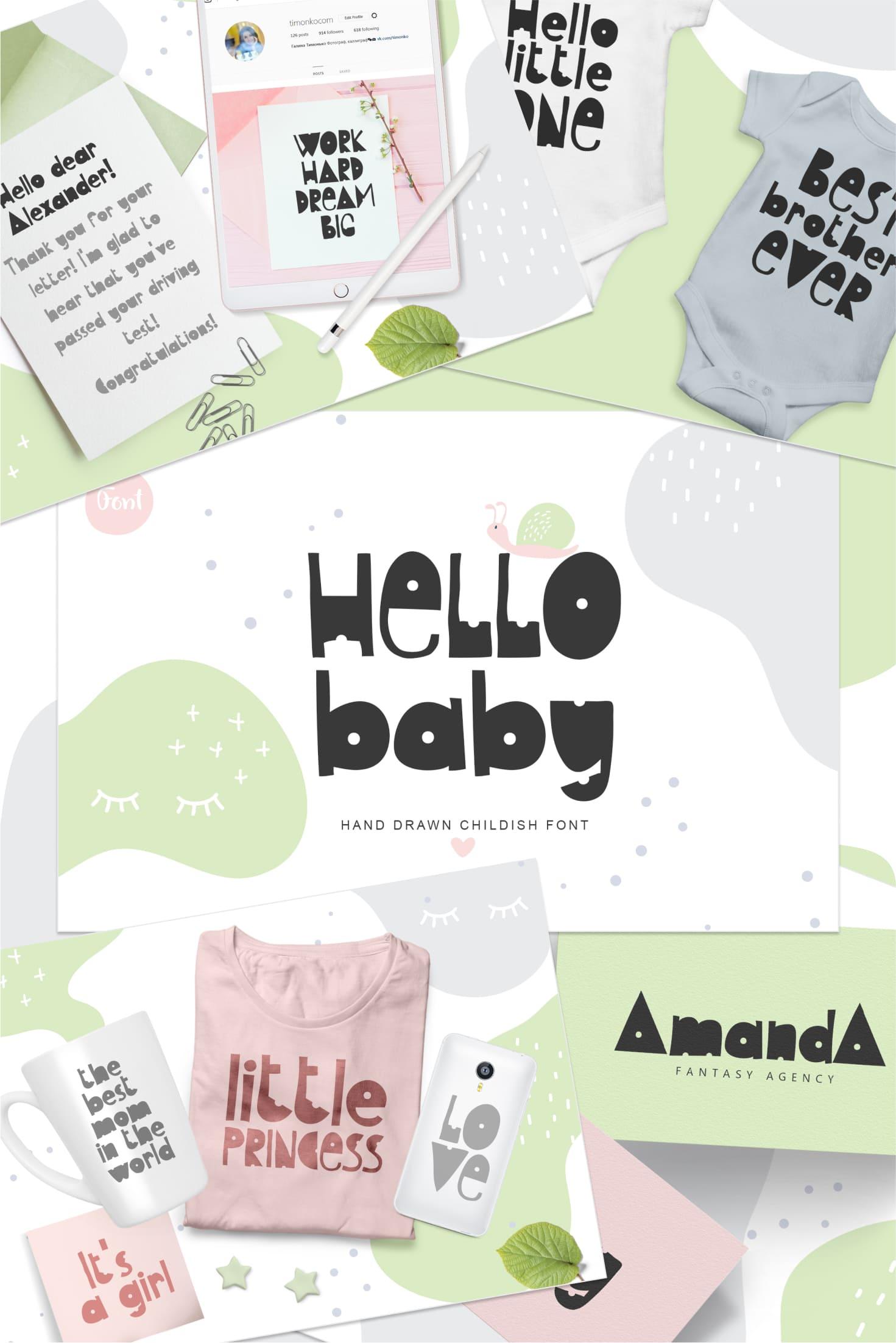Pinterest Image: Kids Handwriting Font 2021: Hello Baby Childish Font.