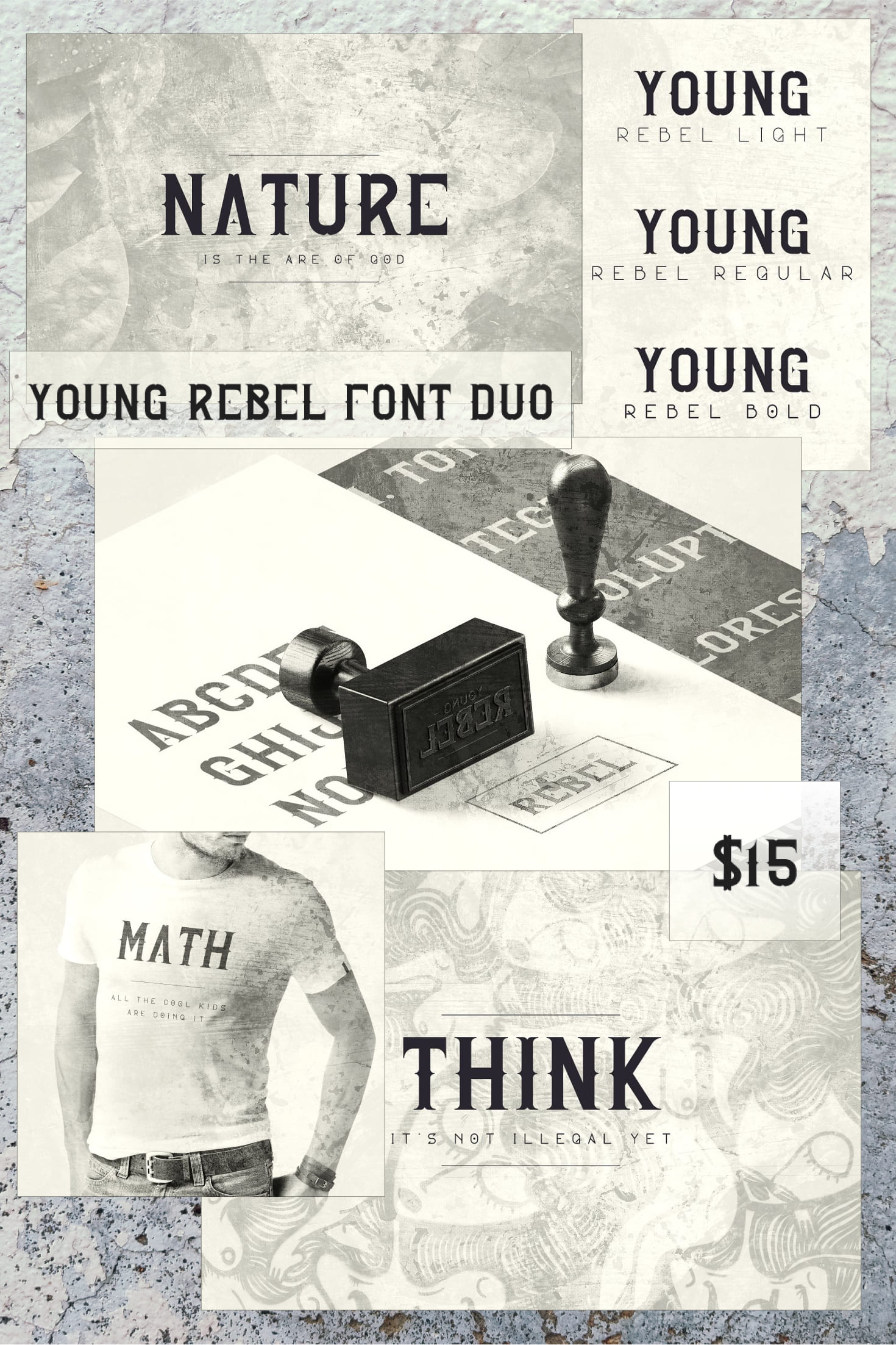 Pinterest Image: Young Rebel Font Duo: 4 Fonts.