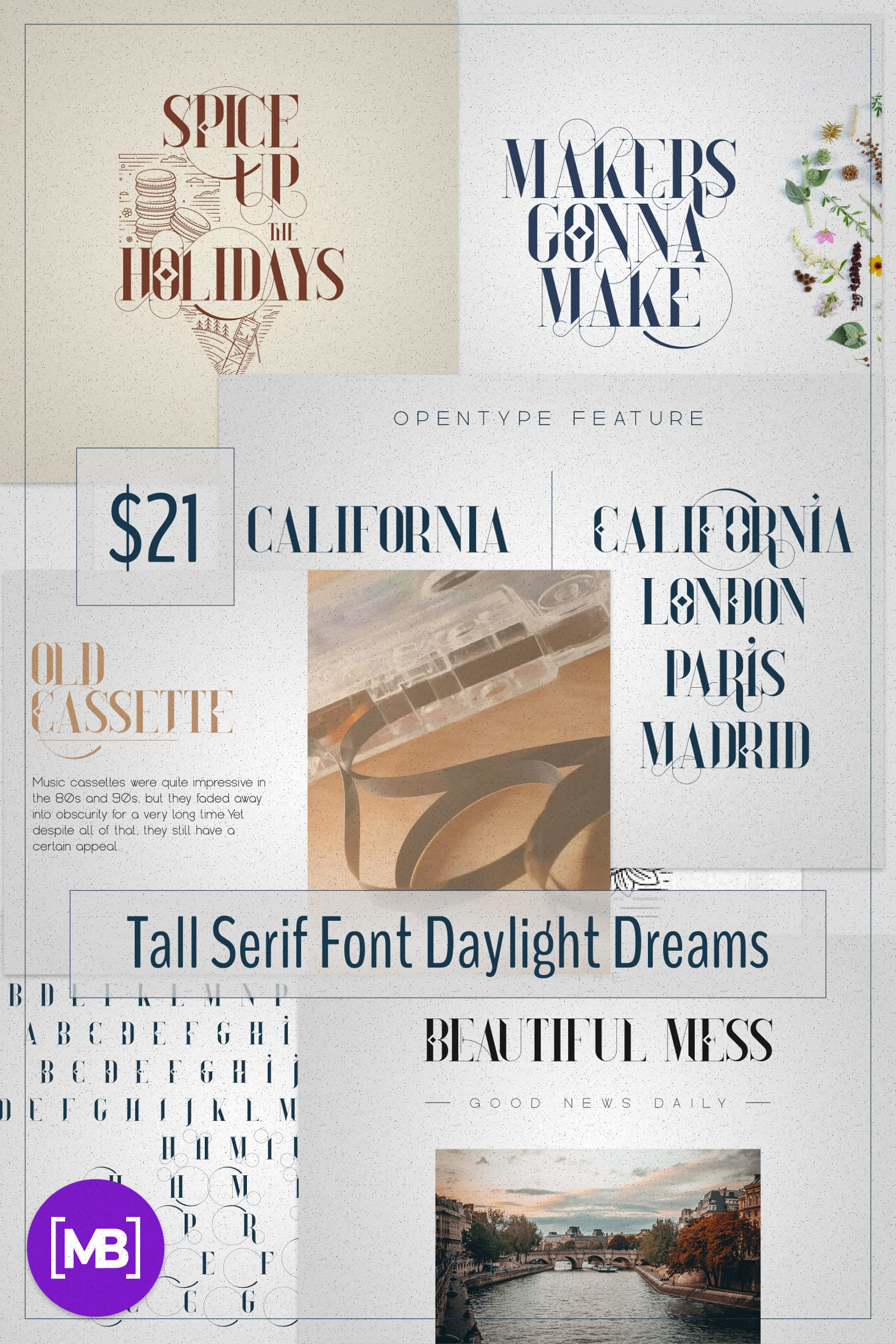 Pinterest Image: Tall Serif Font Daylight Dreams + Extras.