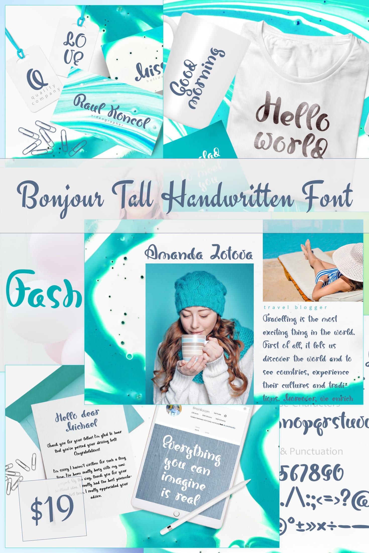 Pinterest Image: Bonjour Tall Handwritten Font 2020.