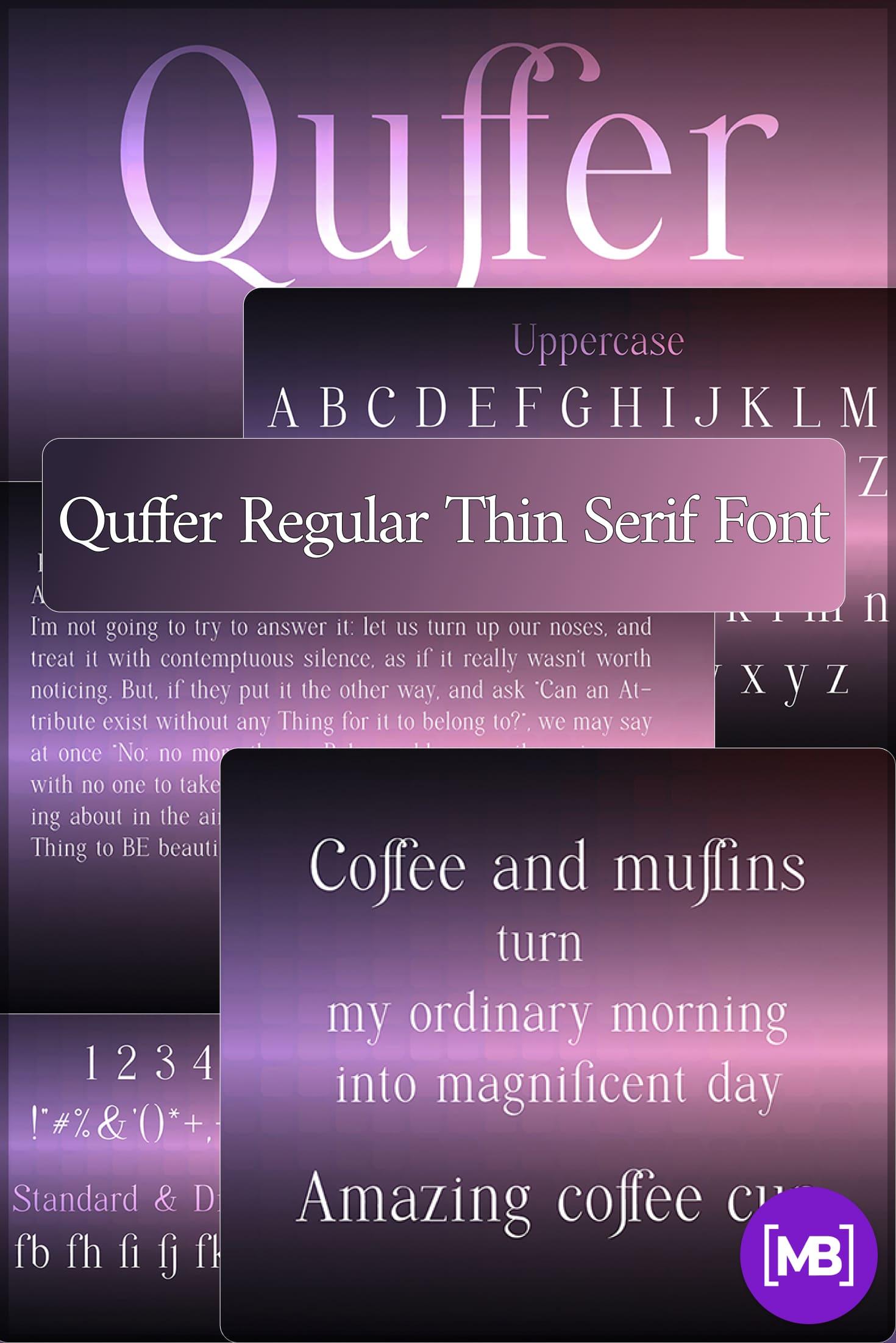 Pinterest Image: Quffer Regular Thin Serif Font.