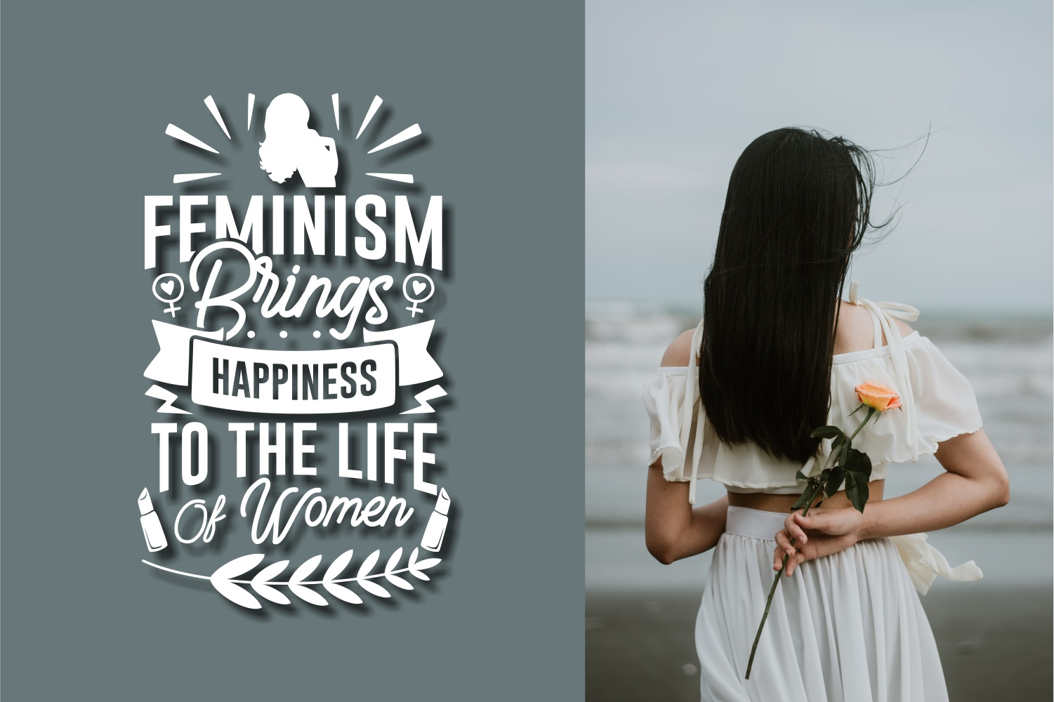 A beautiful girl stands with her back turned to the sea, and on the second part of the postcard there is an inscription about feminism.