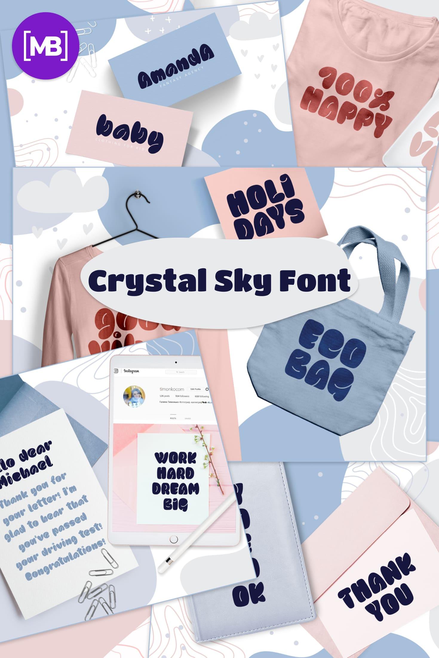 Pinterest Image: Crystal Sky Font: Sweet Sky Rotund Handmade Font.