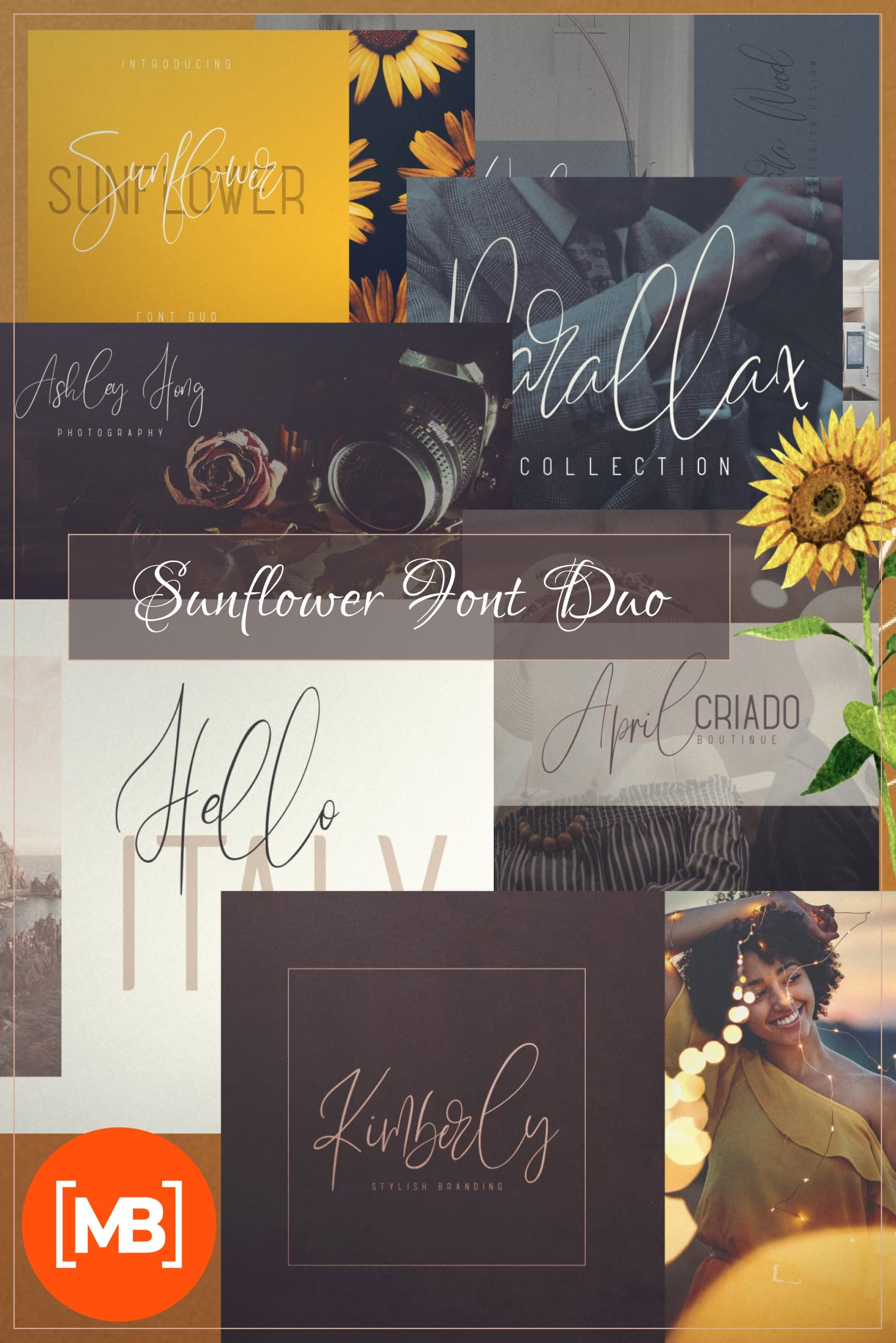 Pinterest Image: Sunflower Font Duo - Just now $19.