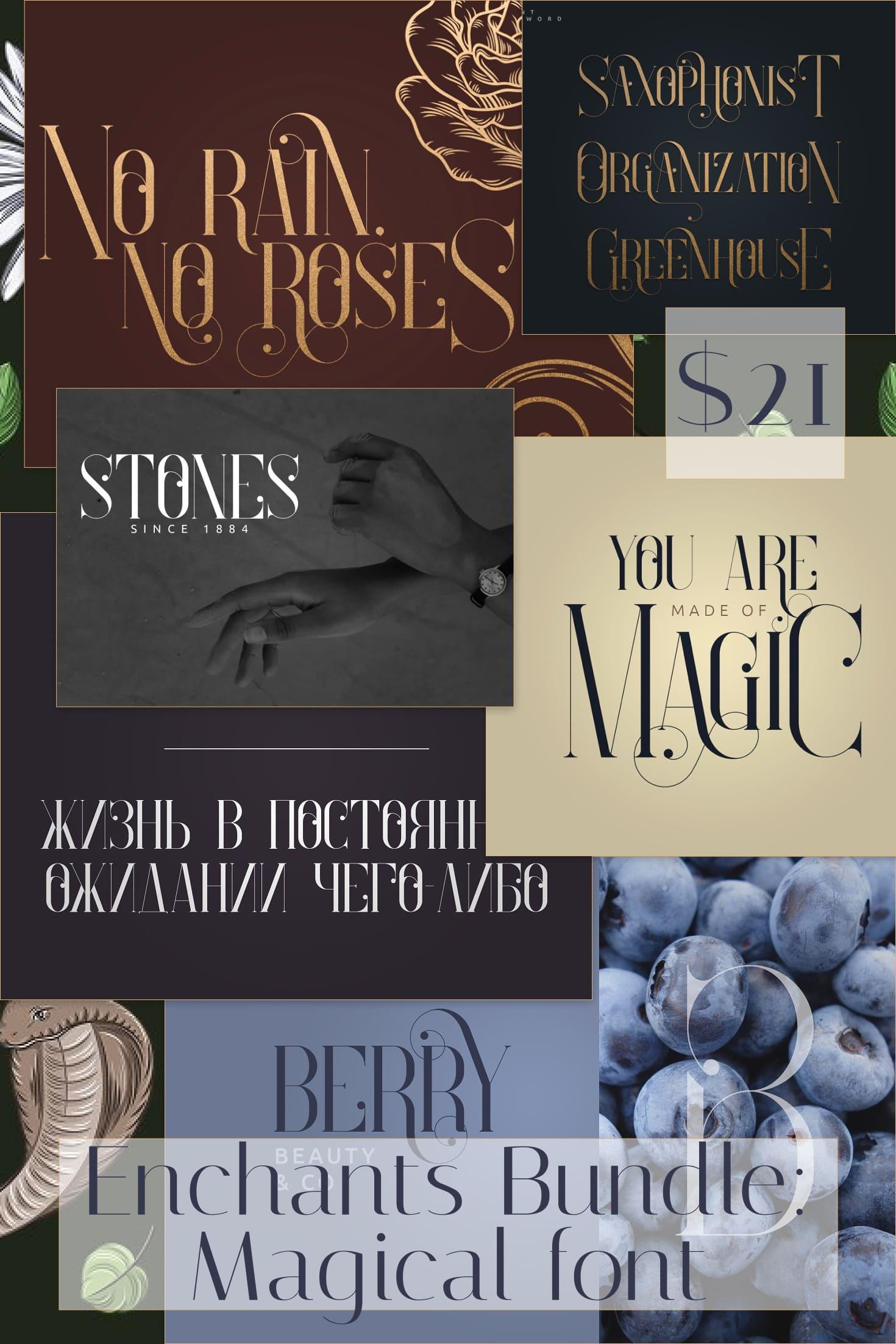 Pinterest Image: Enchants Bundle: Magical font +  Animal Designs + Nature Elements.