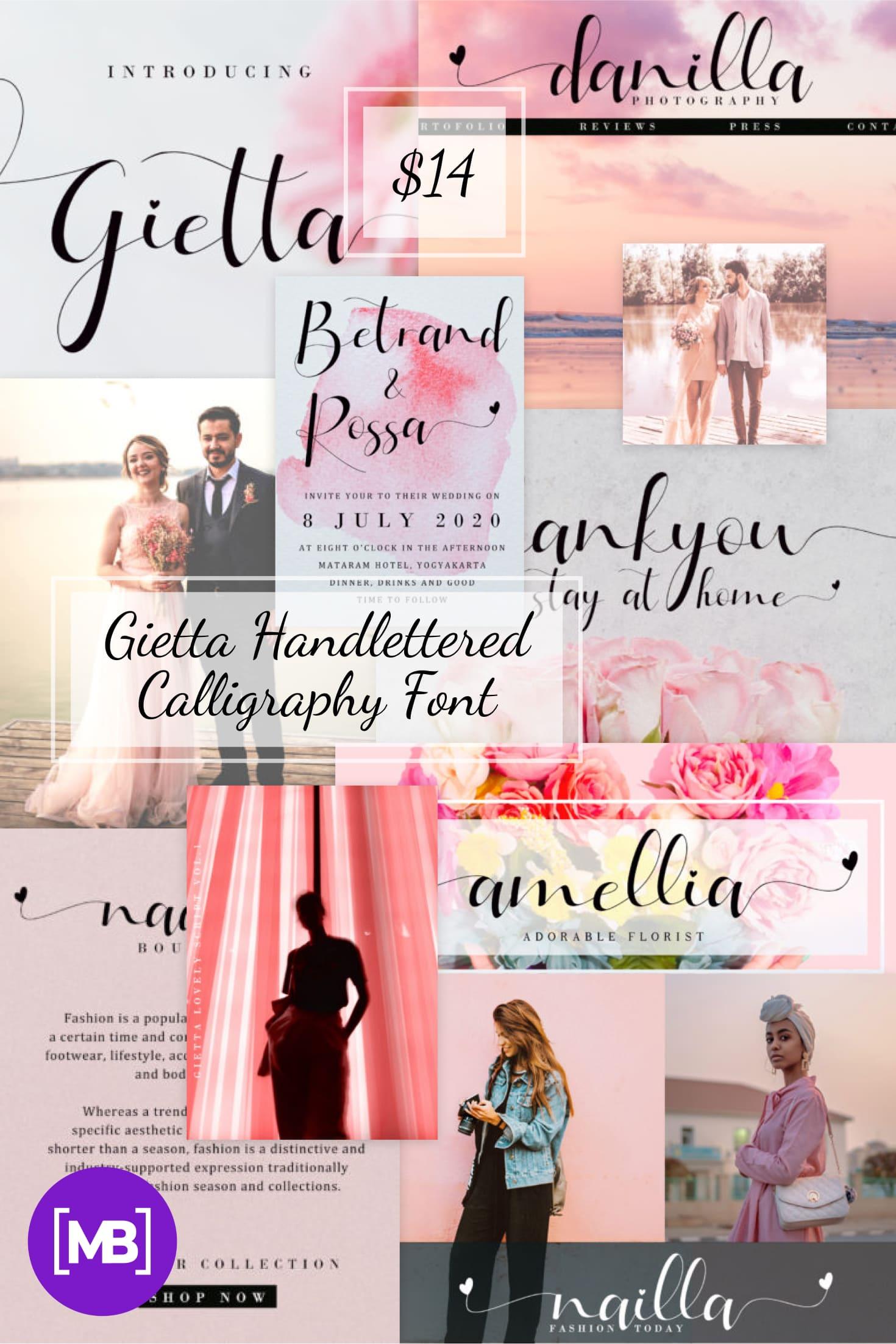 Pinterest Image: Gietta Handlettered Calligraphy Font.