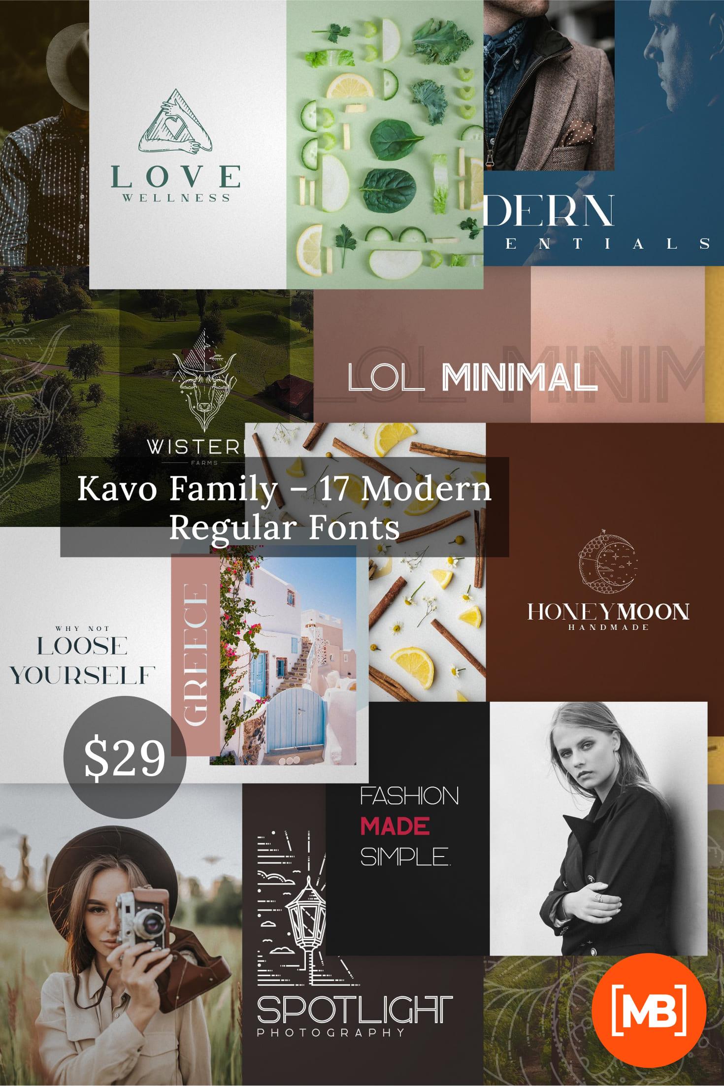 Pinterest Image: Kavo Family - 17 Modern Regular Fonts + 24 logos.
