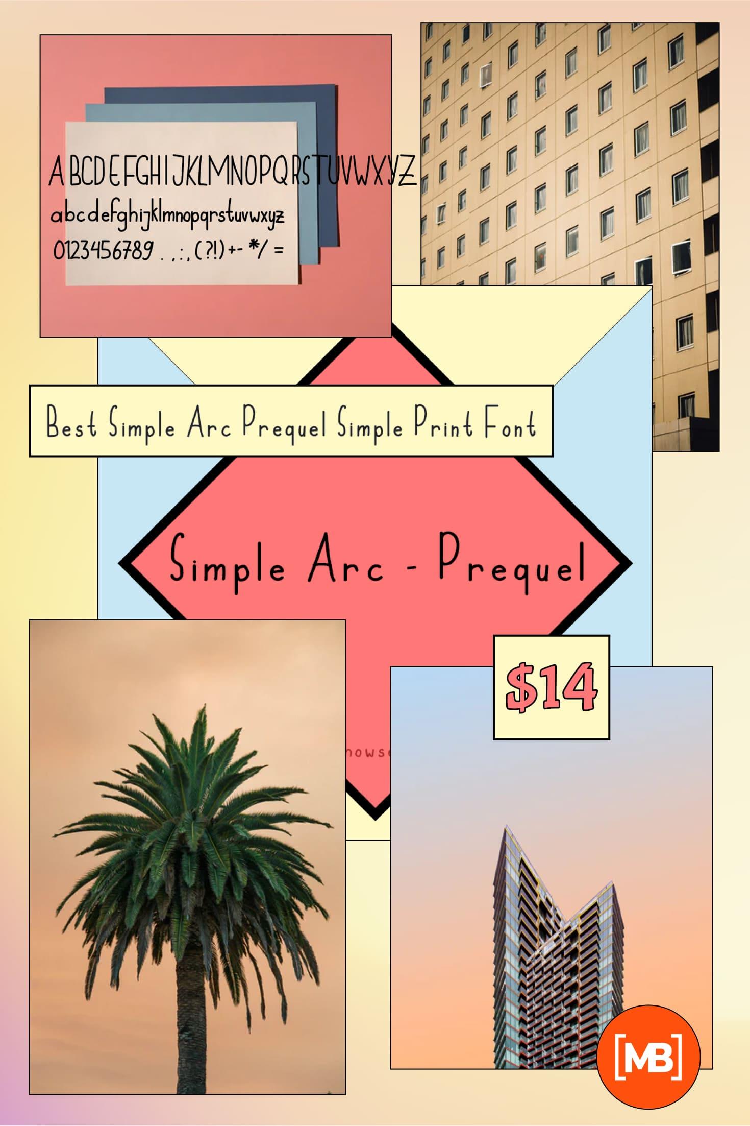 Pinterest Image: Best Simple Arc - Prequel Simple Print Font 2020.
