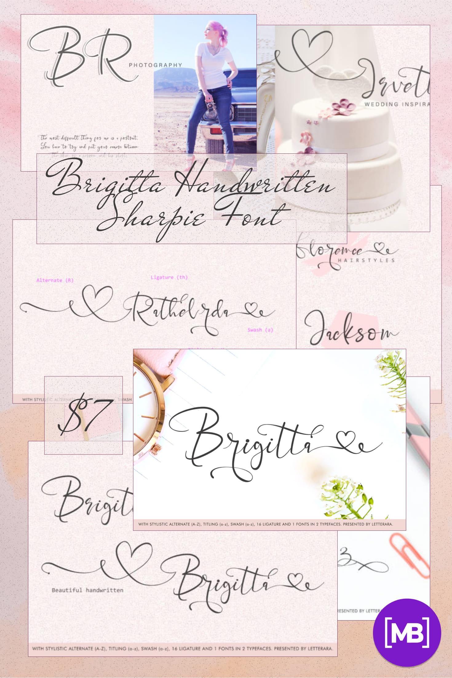 Pinterest Image: Best Handwritten Sharpie Font 2021 | Brigitta Handwritten Sharpie Font.