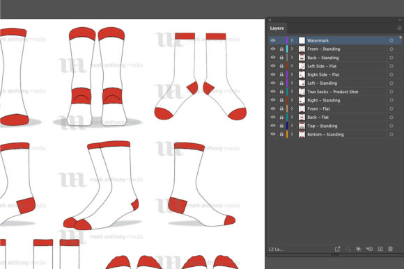 Socks Mockup Bundle - 55 Vector Template Mockups - Crew Socks Vector Template Mockup Graphics 4618424 2 580x387