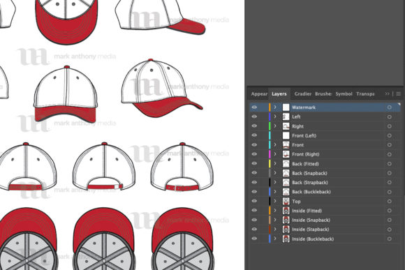 Curved Brim Hats - Vector Template Mockup