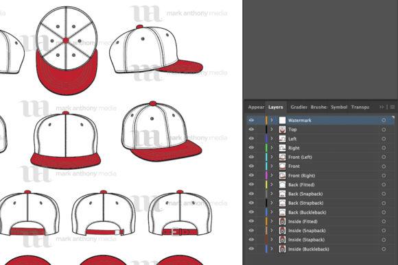 Hat Mockup: Flat Brim Hats Vector Templates Mockup