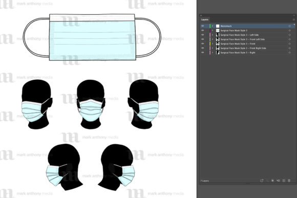 Vector Face Mask Mockup Template