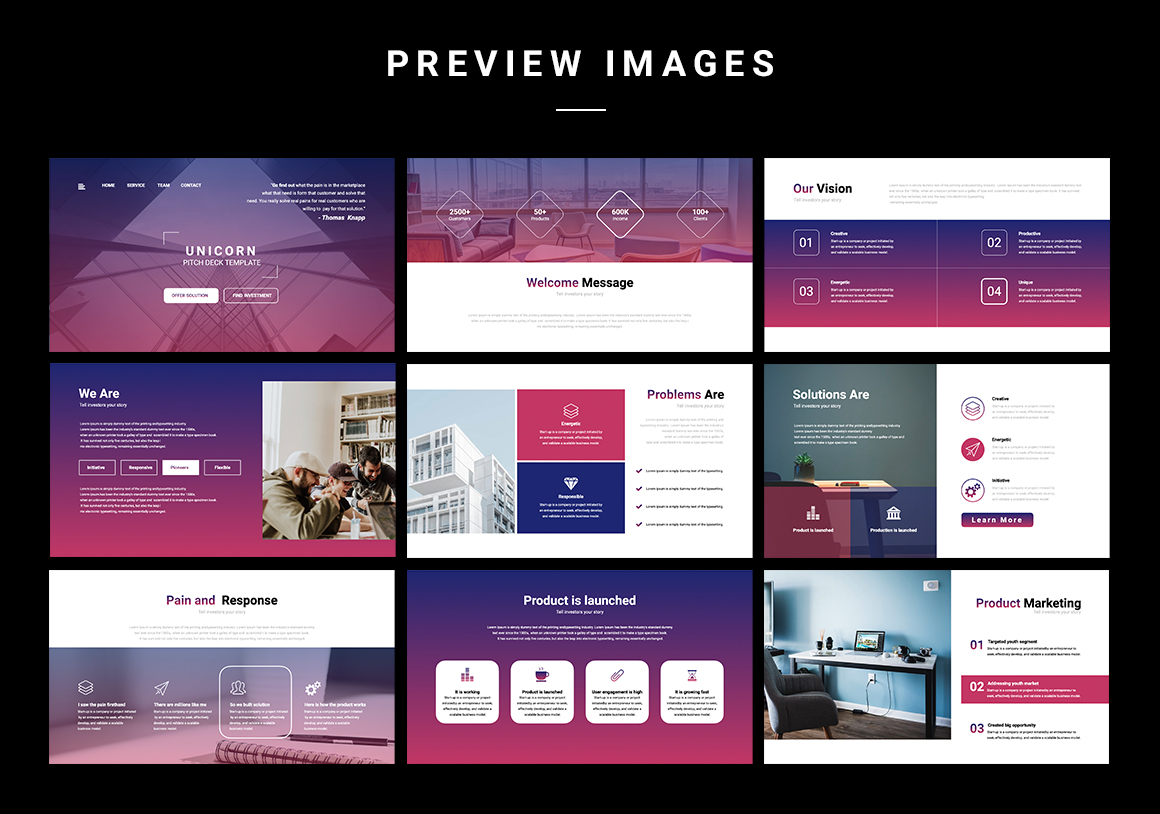 Stylish and vibrant template with a predominantly Marsala gradient.