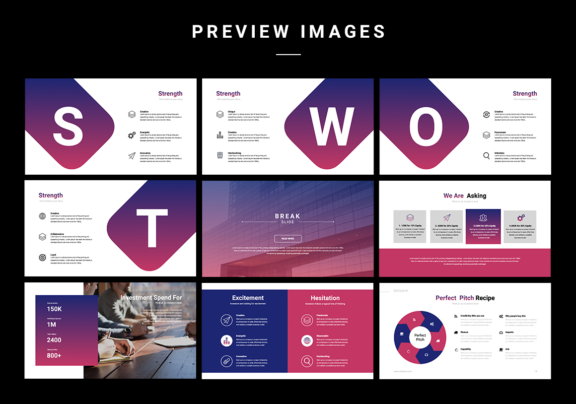 Modern slide designs take your presentation to the next level. There is also swat analysis and infographics.
