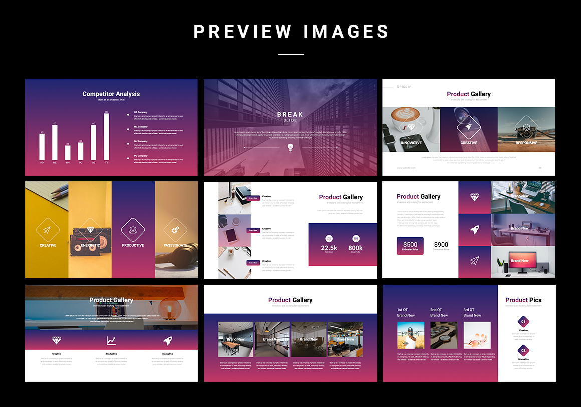 You will be able to use a lot of pictures, as part of the template is aimed at quality visual content.