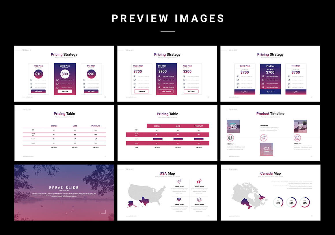 Different price list variations make it possible to make the template as personal as possible.