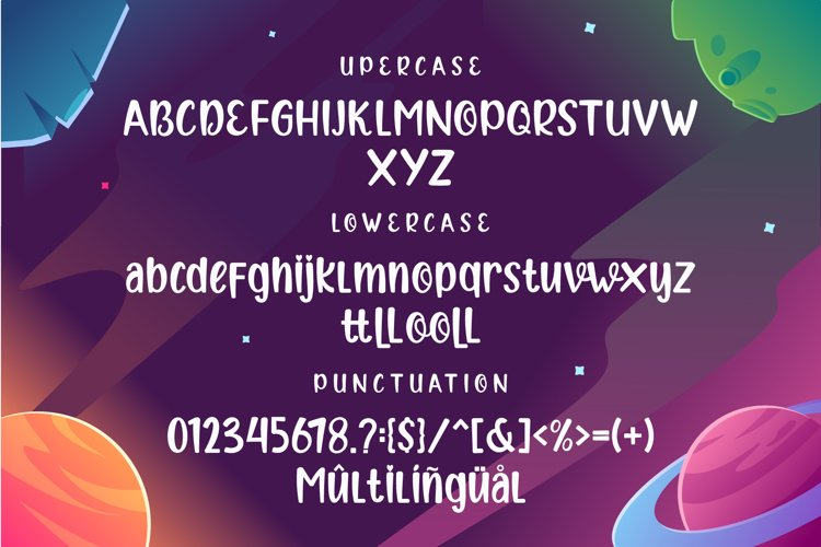Font in different versions against the background of space.