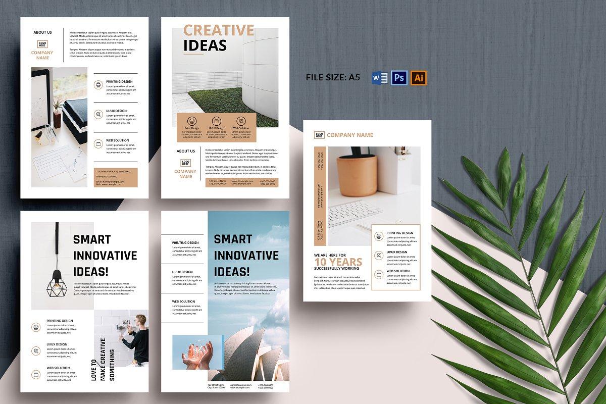Minimal Flyer Design Bundle, Word Flyer Postcard - bundle
