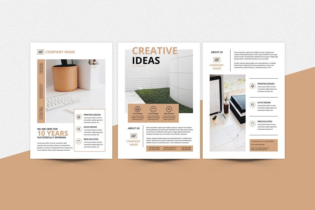 Minimal Flyer Design Bundle, Word Flyer Postcard - z